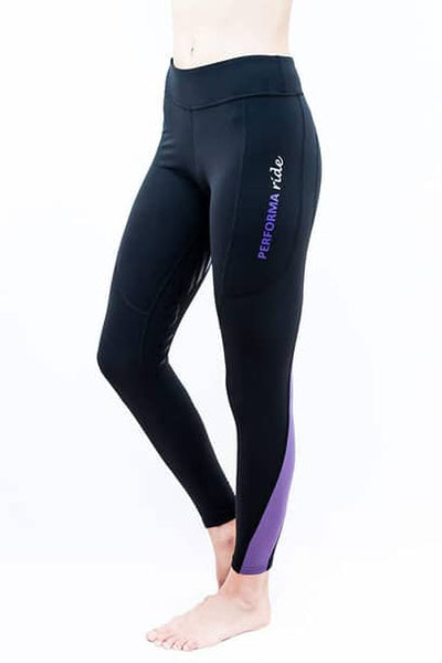 Performa Ride COLOUR BLOCK Riding Tights - Black/Lilac