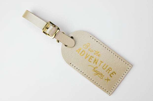 "Leather Luggage Tag ""Adventure"""