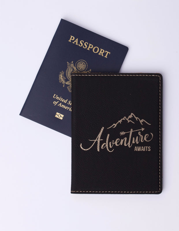 "Leather Passport Holder ""Adventure Awaits"""