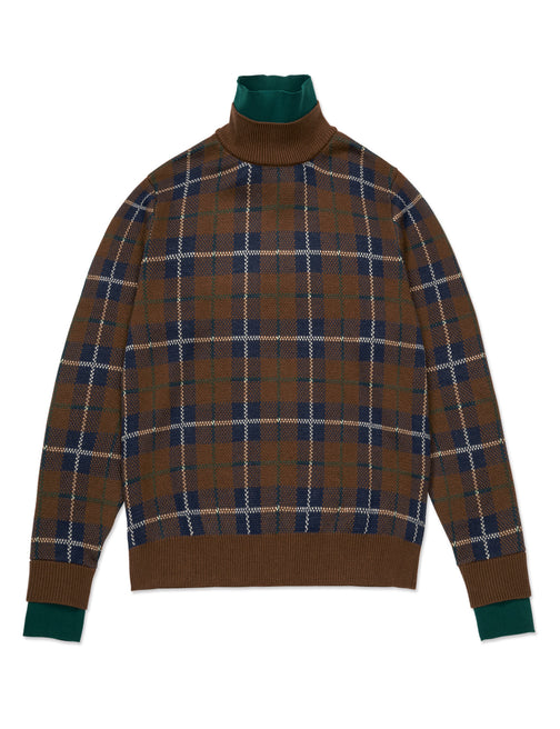 LAYERED CHECK HIGH NECK KNIT