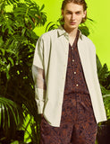 PAISLEY PATTERNED CAMP COLLAR S/S SHIRT