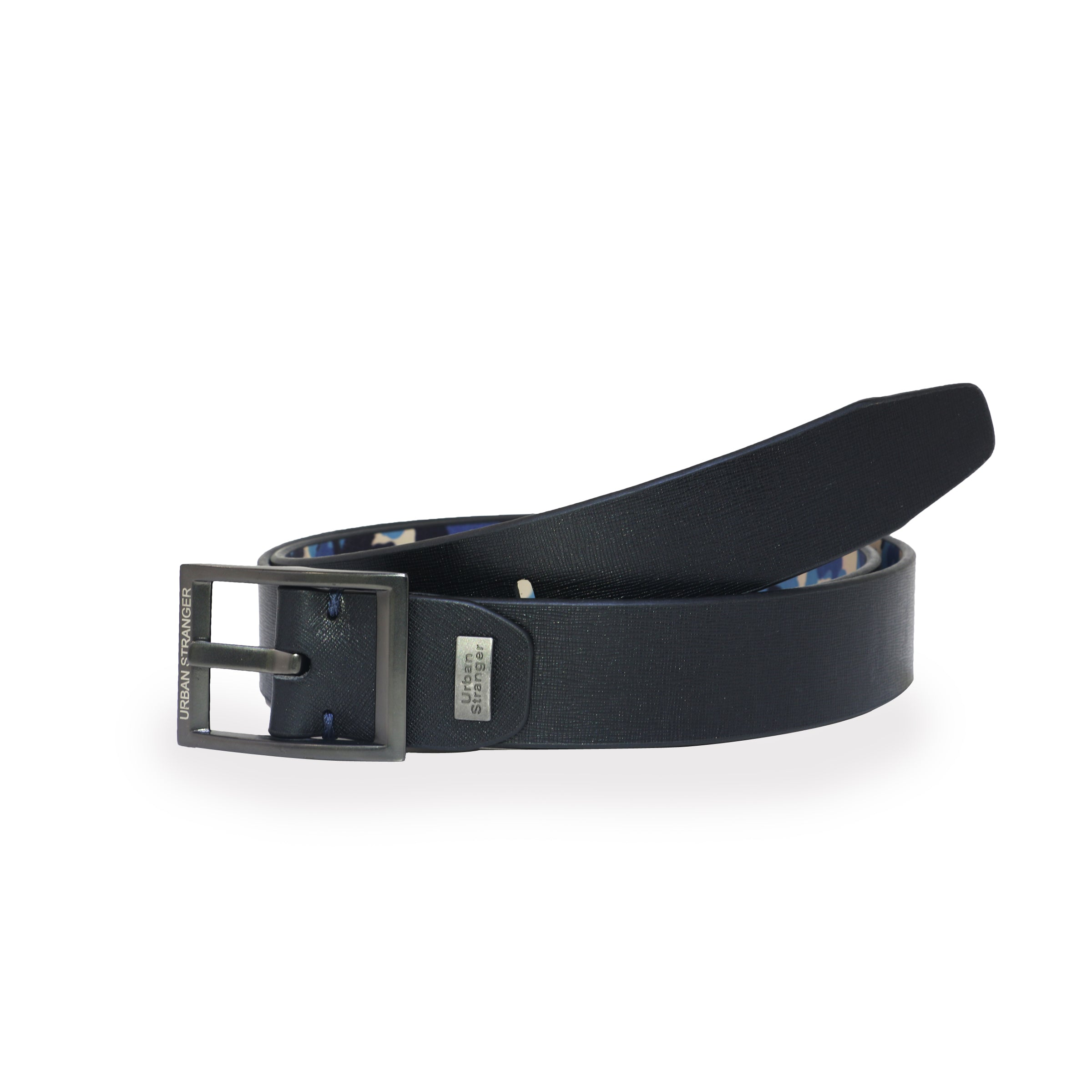 Reversible Saffiano & Camouflage Printed Leather Belt