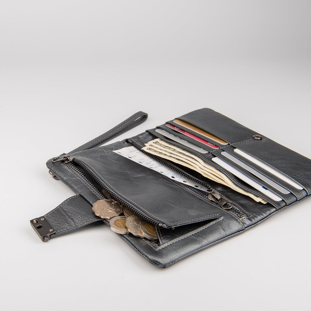 Leather Wallet with Strap
