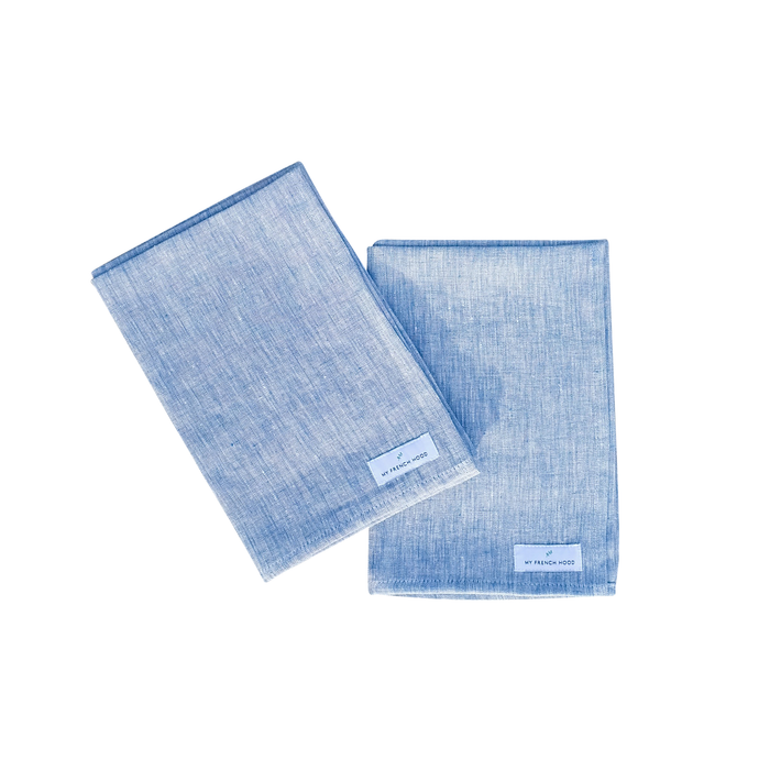 MFH Linen kitchen towel - blue melange, 2 pack