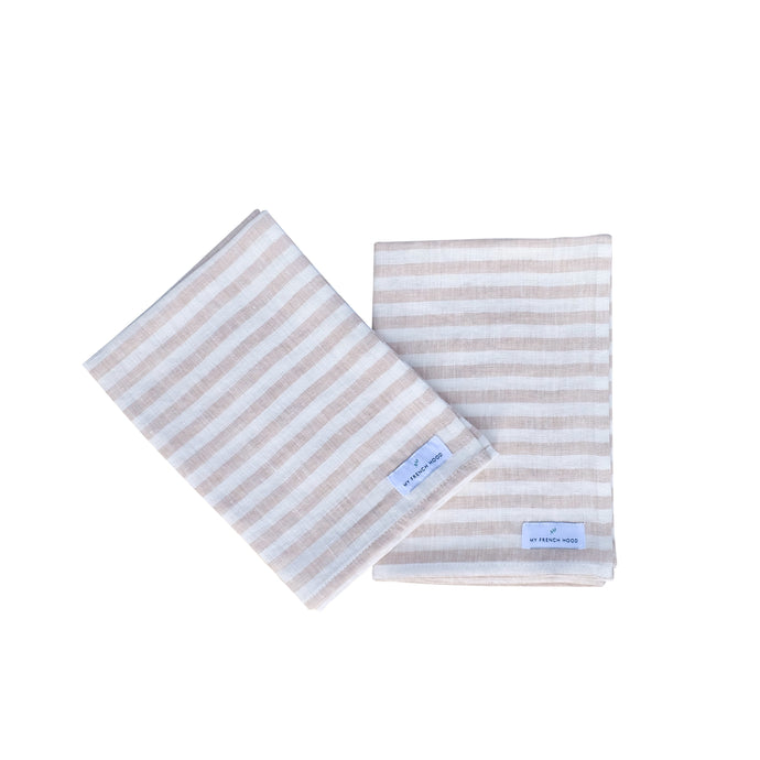 MFH Linen kitchen towel - natural striped, 2 pack