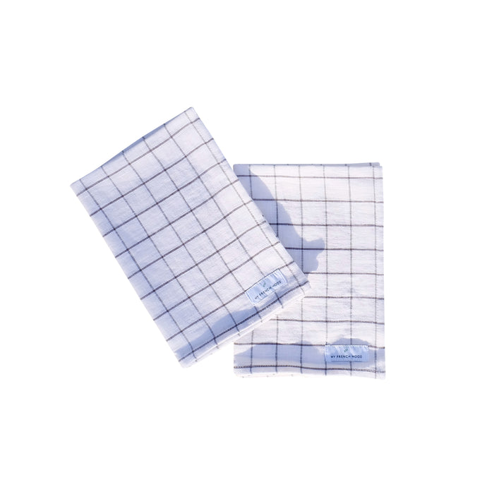 MFH Linen kitchen towel - charcoal grid, 2 pack
