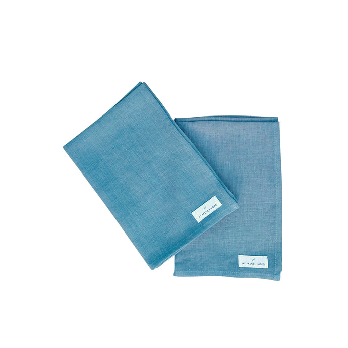 MFH Linen kitchen towel - gray blue, 2 pack