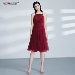 df57df3f38e Knee Length Burgundy Cocktail Dresses Ever Pretty A-line Tulle Backless  Sexy Lace Appliques Formal