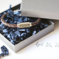 Own Handwriting Engraved Twisted Leather Mens Bracelet - Shop Personalised Gifts
