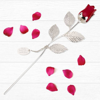 Personalised Silver Plated Rose With Red Bud - Shop Personalised Gifts