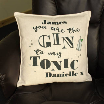 Personalised Gin To My Tonic Filled Cushion - Personalised Books-Personalised Gifts-Baby Gifts-Kids Books