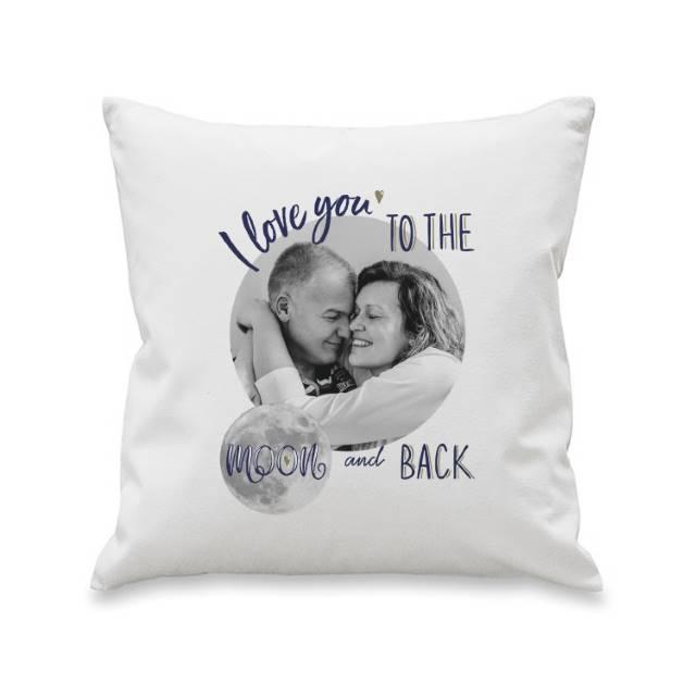 Moon & Back Photo Upload Filled Cushion