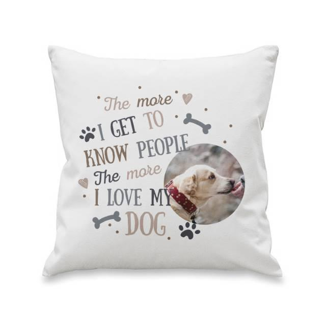 I Love My Dog Photo Upload Filled Cushion