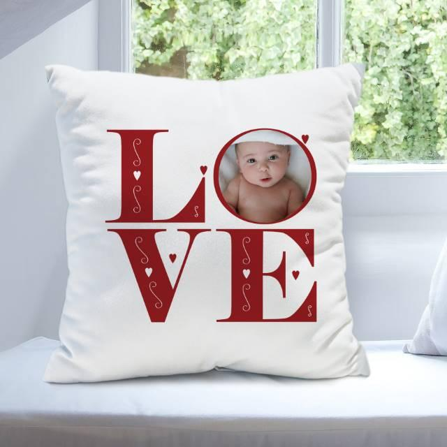 LOVE Photo Upload Filled Cushion