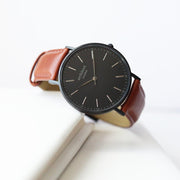 Personalised Architect Mens Minimalist Watch With Walnut Strap