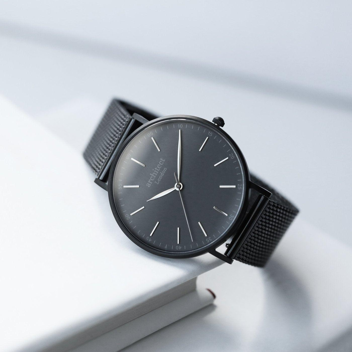 Personalised Men's Architect Minimalist Watch With Pitch Black Mesh Strap
