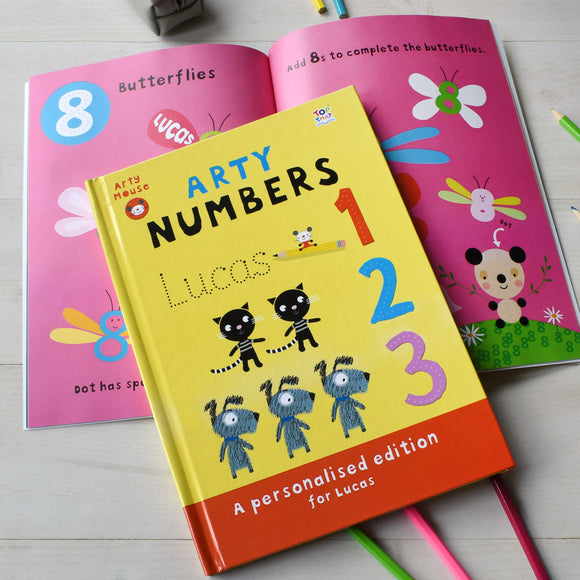 Personalised Arty Mouse Numbers Activity Book - shop-personalised-gifts