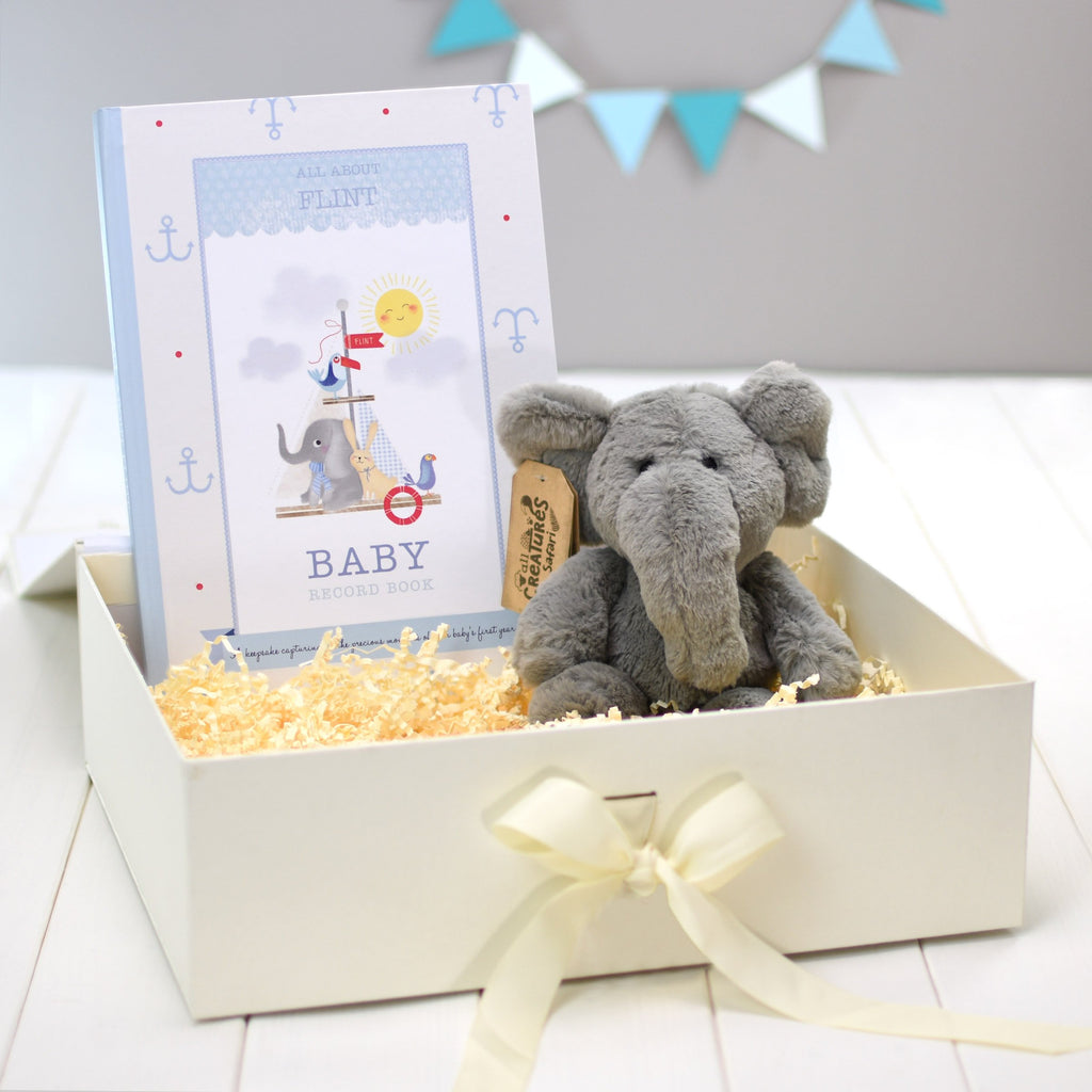Personalised Baby Record Book & Elephant Cuddly Toy - shop-personalised-gifts