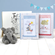 Personalised Baby Record Book & Elephant Cuddly Toy - Shop Personalised Gifts
