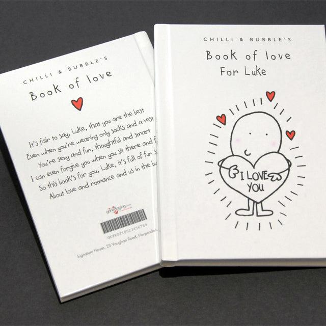 Chilli and Bubble's Personalised Book of Love for Him