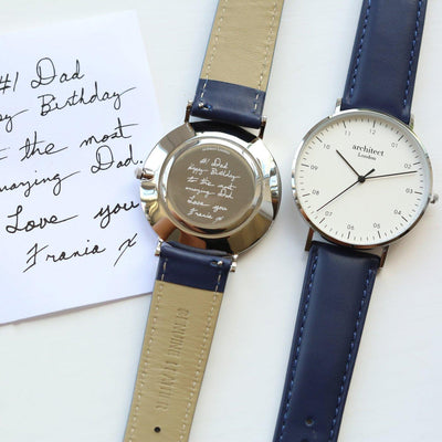 Handwriting Engraving Mens Architect Zephyr Watch With Admiral Blue Strap