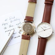 Handwriting Engraving  Mens Architect Zephyr Watch With Walnut Strap