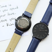 Handwriting Engraving Men's Minimalist Architect Watch With Admiral Blue Strap