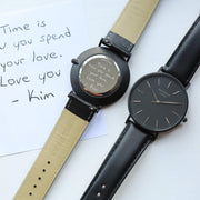 Handwriting Engraving Mens Minimalist Architect Watch Jet Black Strap