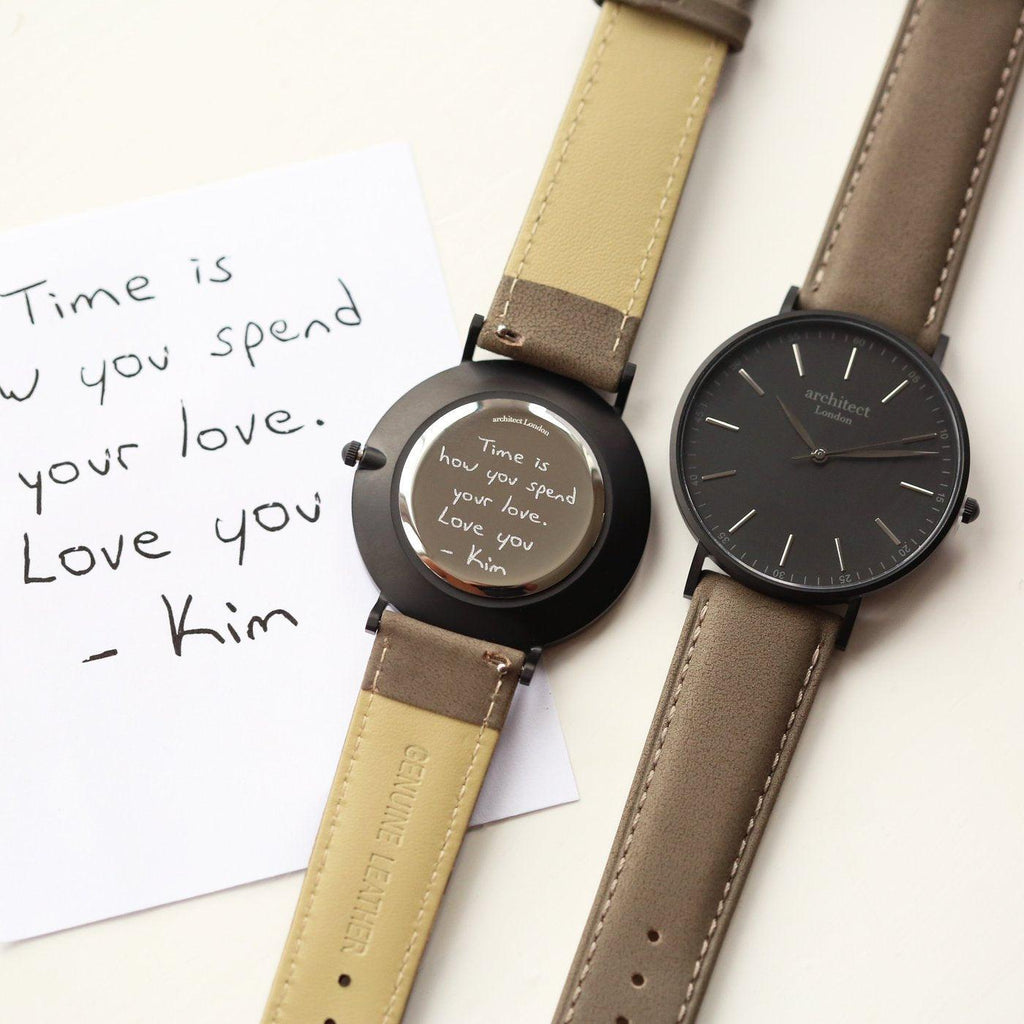 Handwriting Engraving Men's Minimalist Architect Watch With Urban Grey Strap