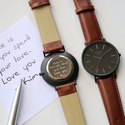 Handwriting Engraving Mens Minimalist Architect Watch With Walnut Strap
