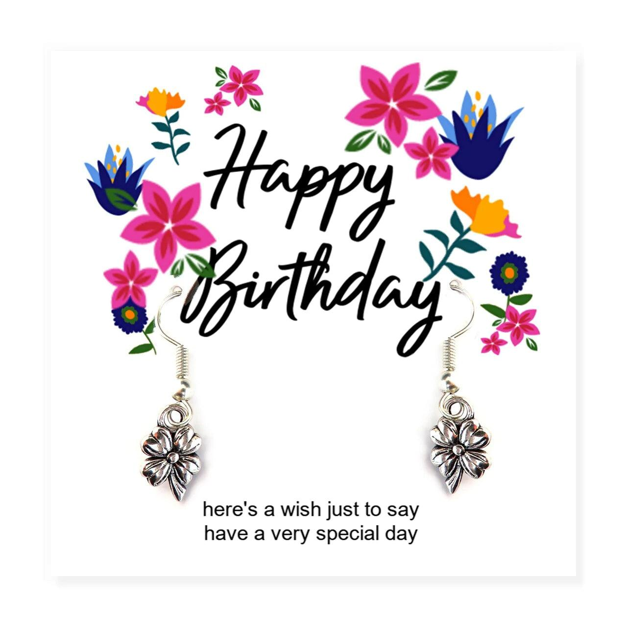 Happy Birthday Flower Silver Plated Earrings on Message Card - Non Personalised (6562212151382)