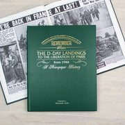 D-Day Landings Newspaper Book - Green Leatherette - shop-personalised-gifts