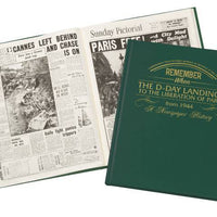 D-Day Landings Newspaper Book - Green Leatherette - Personalised Books-Personalised Gifts-Baby Gifts-Kids Books
