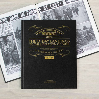 D-Day Landings Newspaper Book - Black Leather - Personalised Books-Personalised Gifts-Baby Gifts-Kids Books