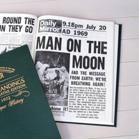 Personalised Lunar Landings Newspaper Book - Green Leatherette - Shop Personalised Gifts