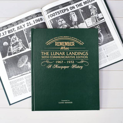 Personalised Lunar Landings Newspaper Book - Green Leatherette - shop-personalised-gifts