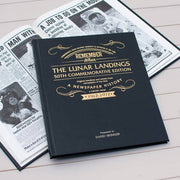 Personalised Lunar Landings Newspaper Book - Black Leather - shop-personalised-gifts