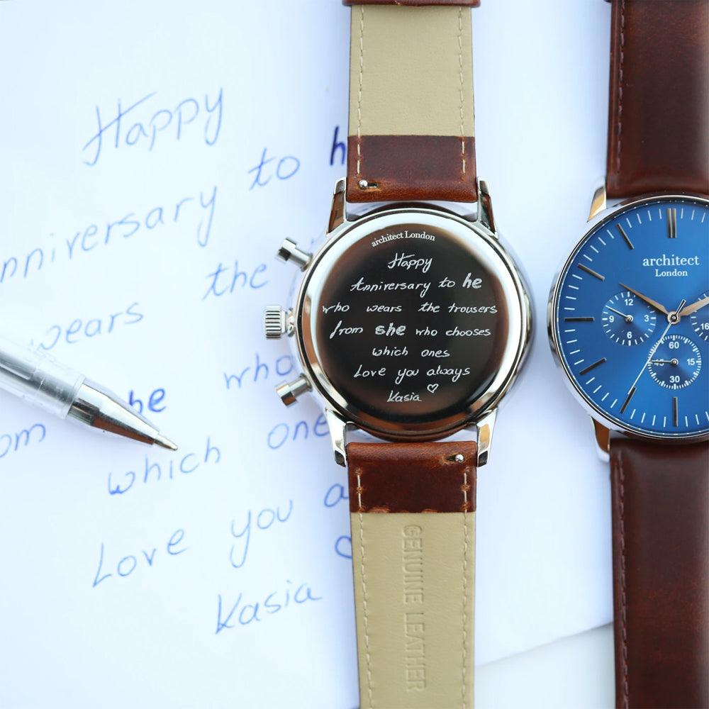Handwriting Engraving - Men's Architect Motivator With Brown Strap (4990429167702)