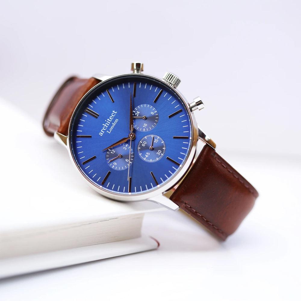 Personalised Men's Architect Motivator Watch With Modern Font & Brown Strap