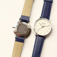 Personalised Architect Zephyr Mens Minimalist With Admiral Blue Strap & Modern Font