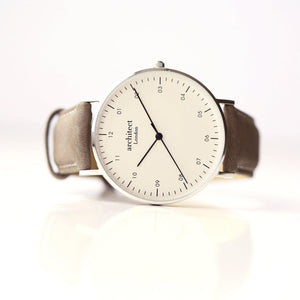 Personalised Men's Architect Zephyr Watch With Urban Grey Strap & Modern Font