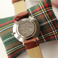 Personalised Men's Architect Zephyr Watch With Walnut Strap - Modern Font