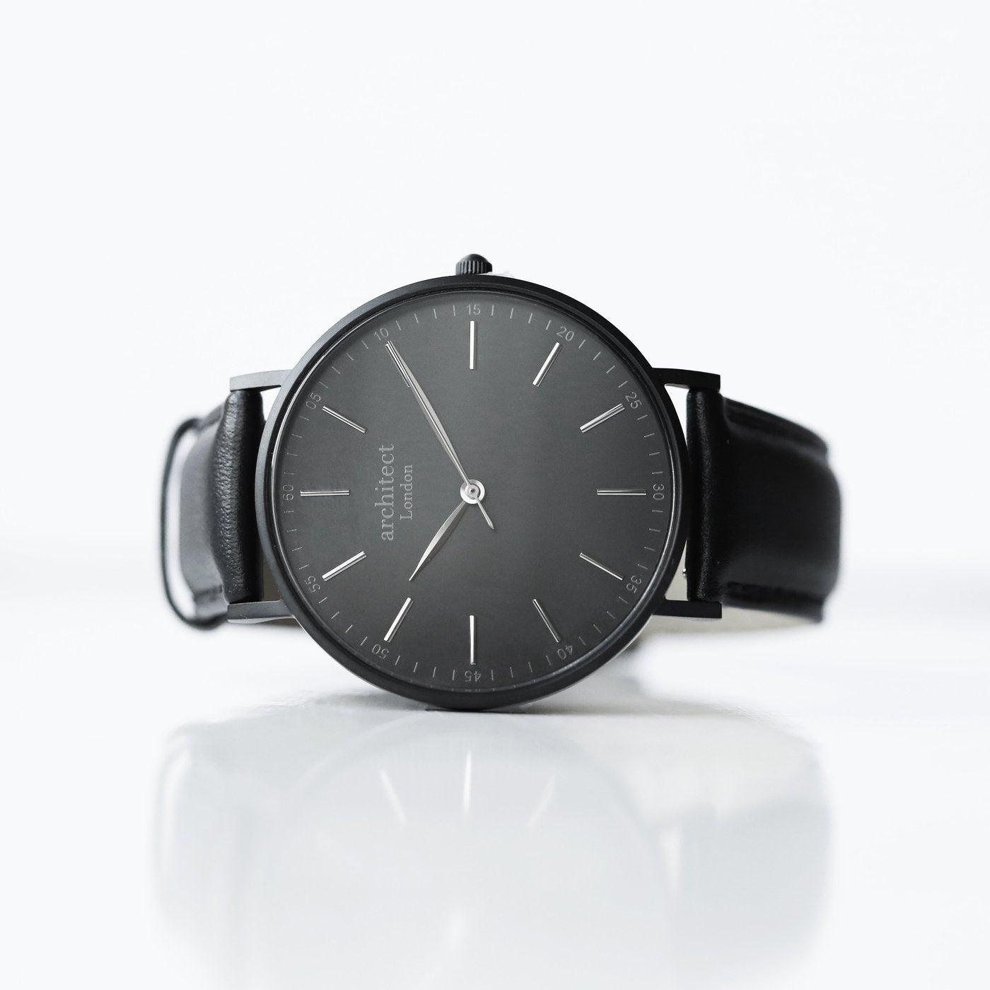 Personalised Men's Architect Watch With Jet Black Strap & Modern Font