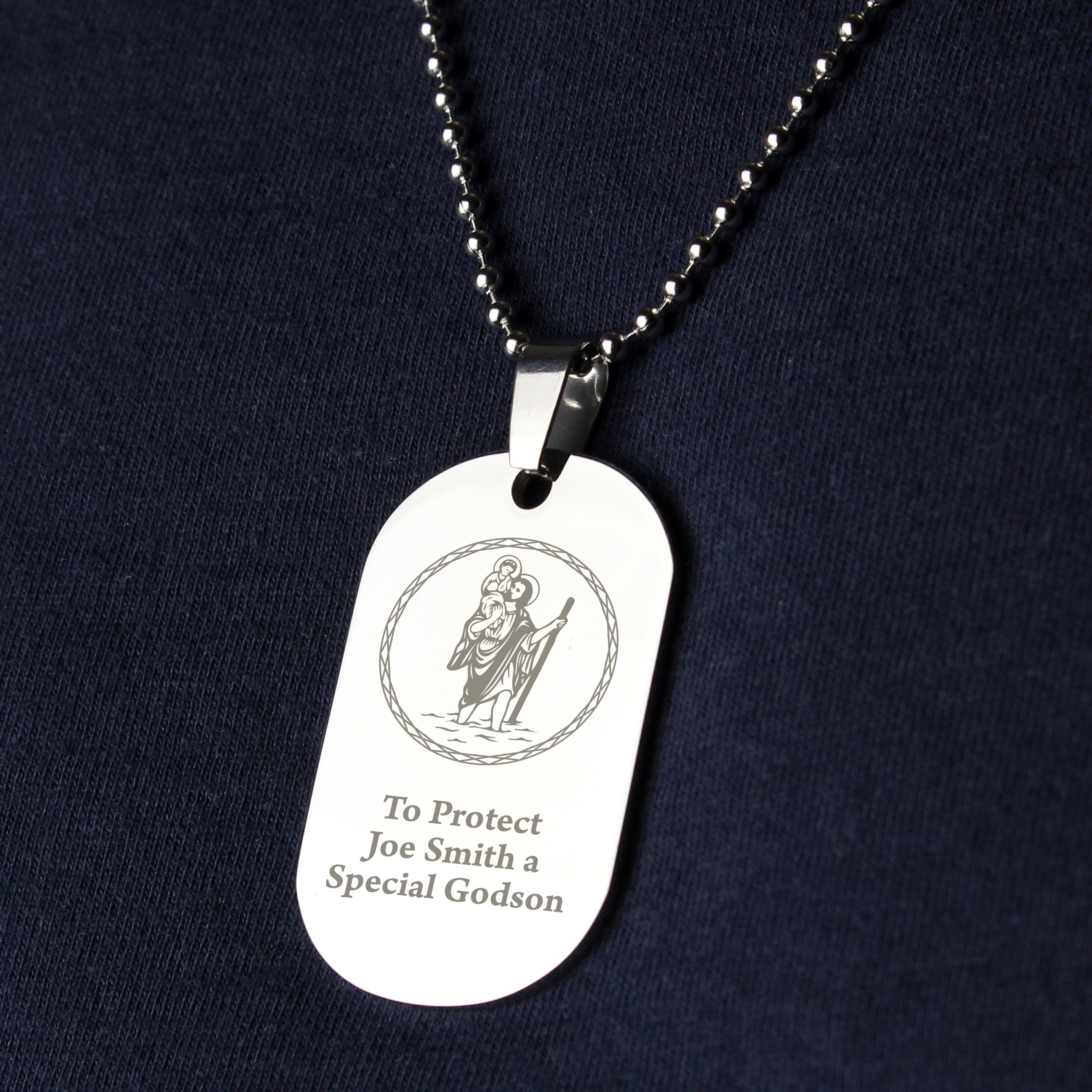 Personalised St Christopher Stainless Steel Dog Tag Necklace - Shop Personalised Gifts