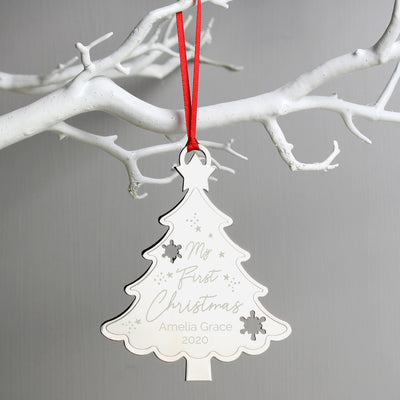 Personalised My First Christmas Metal Tree Hanging Decoration