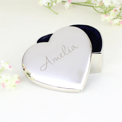 Personalised Name Only Heart Nickel Plated Trinket Box