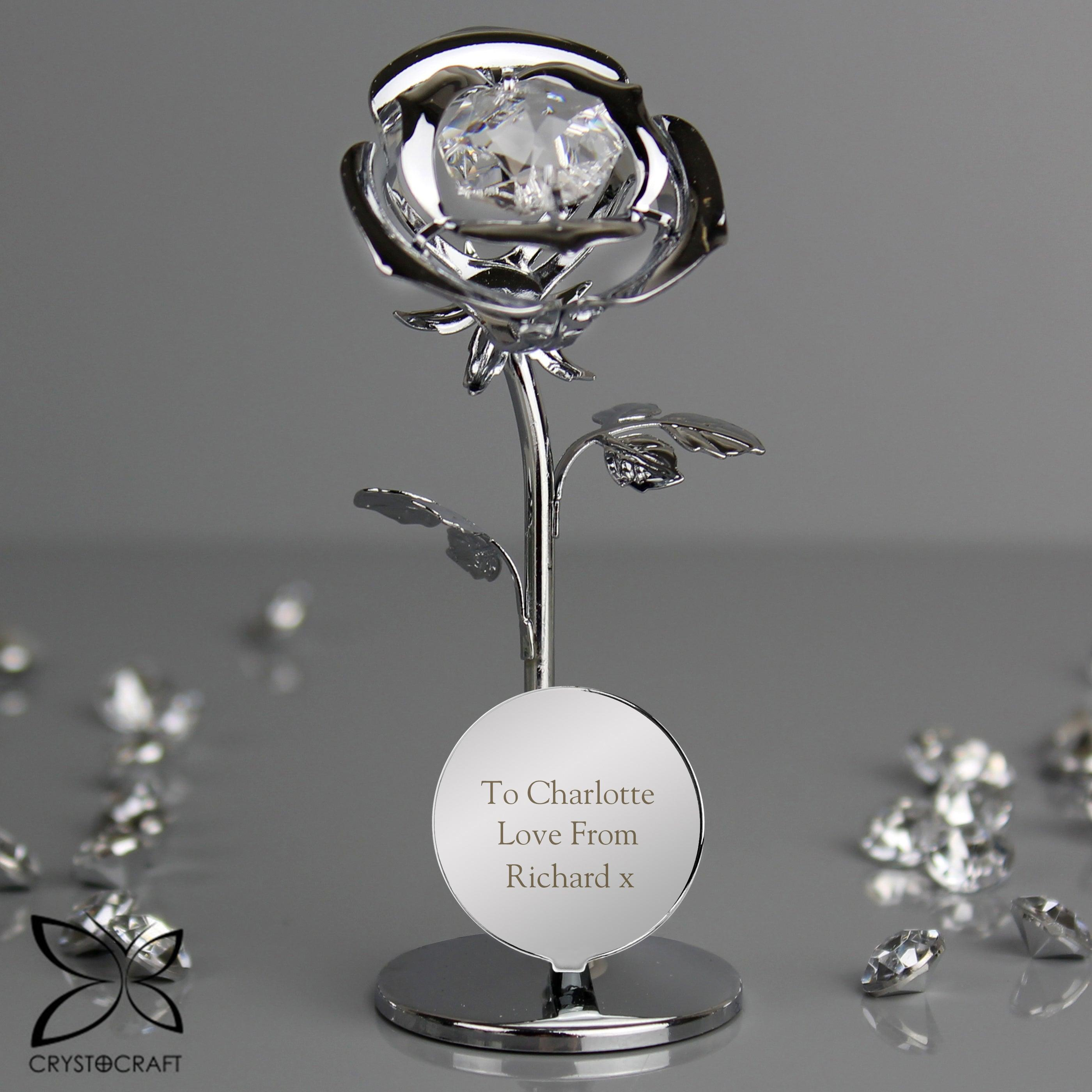 Personalised Crystocraft Rose Silver Plated Ornament