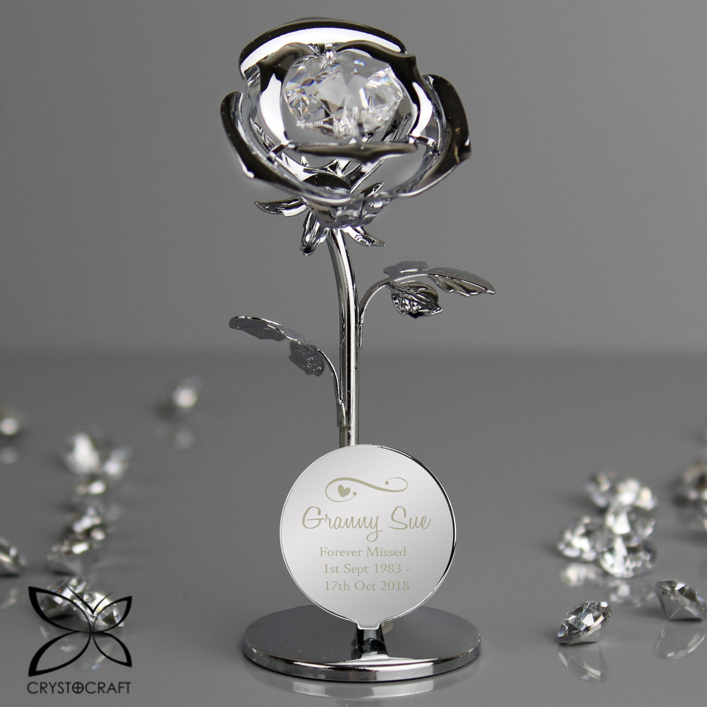 Personalised Swirls & Hearts Crystocraft Silver Plated Rose Ornament (4999833944150)