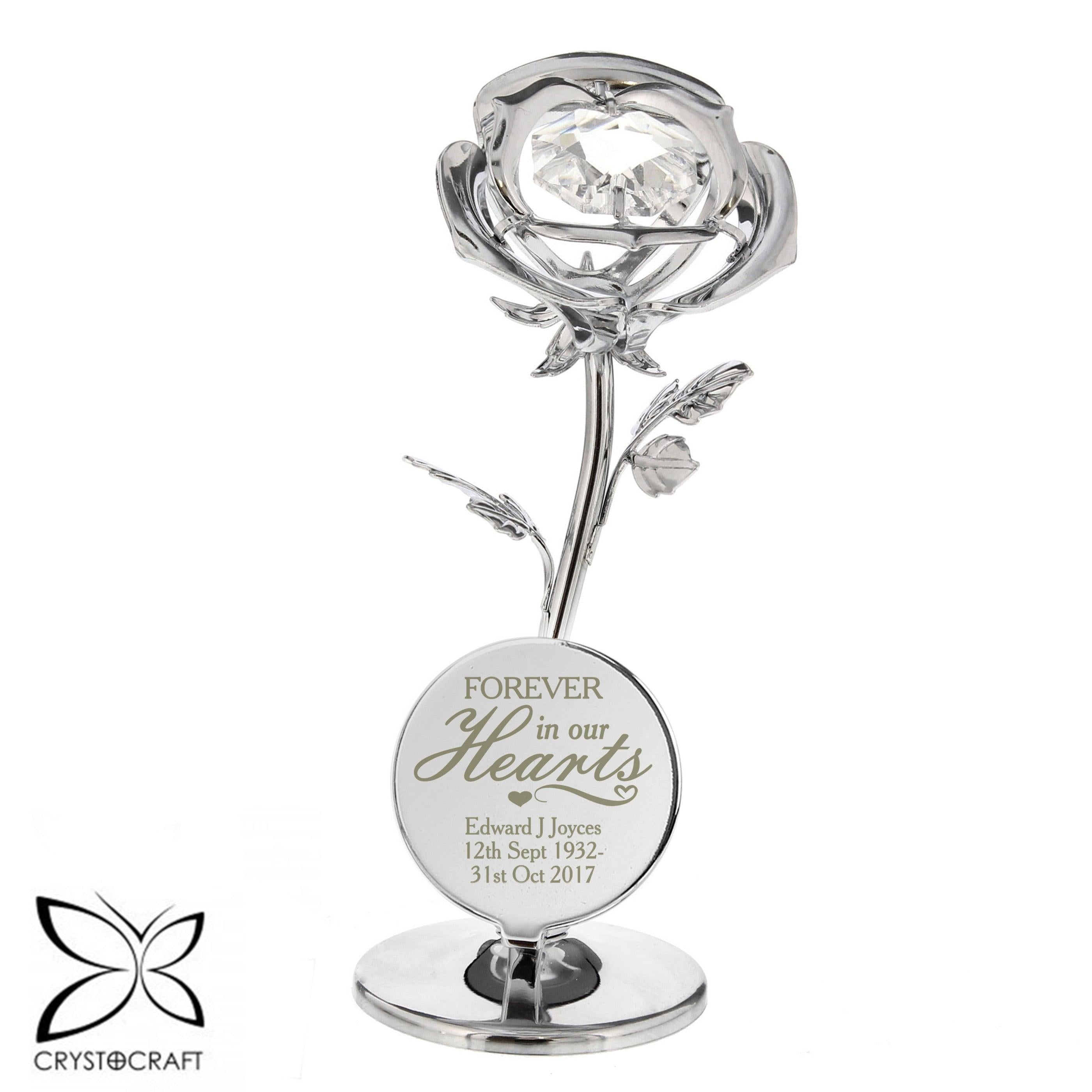 Personalised Forever in Our Hearts Crystocraft Silver Plated Rose Ornament
