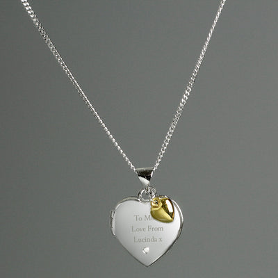 Personalised Sterling Silver Heart Locket Necklace with Diamond and 9ct Gold Charm - Shop Personalised Gifts